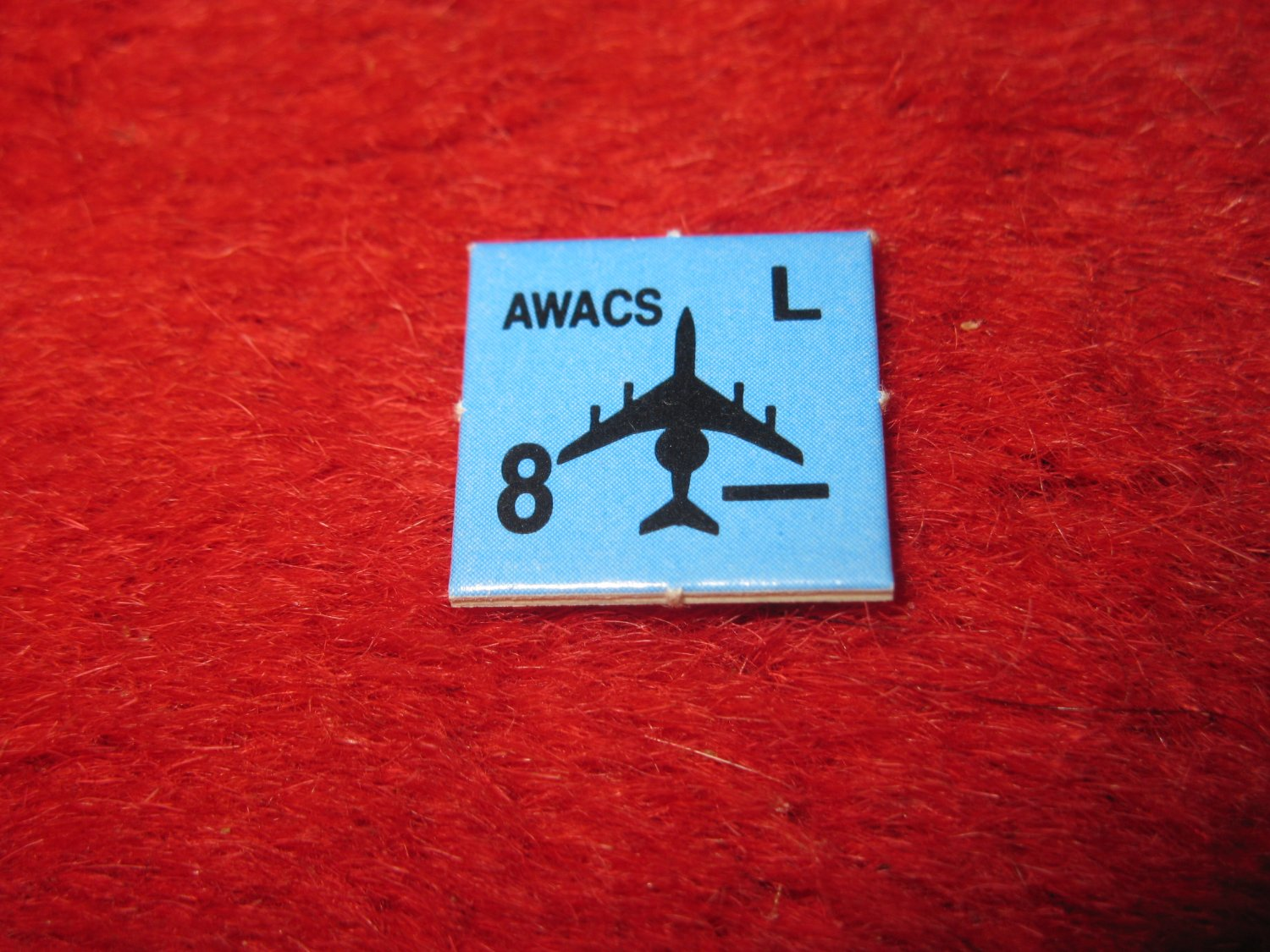 1988 The Hunt for Red October Board Game Piece: AWACS blue Square Counter