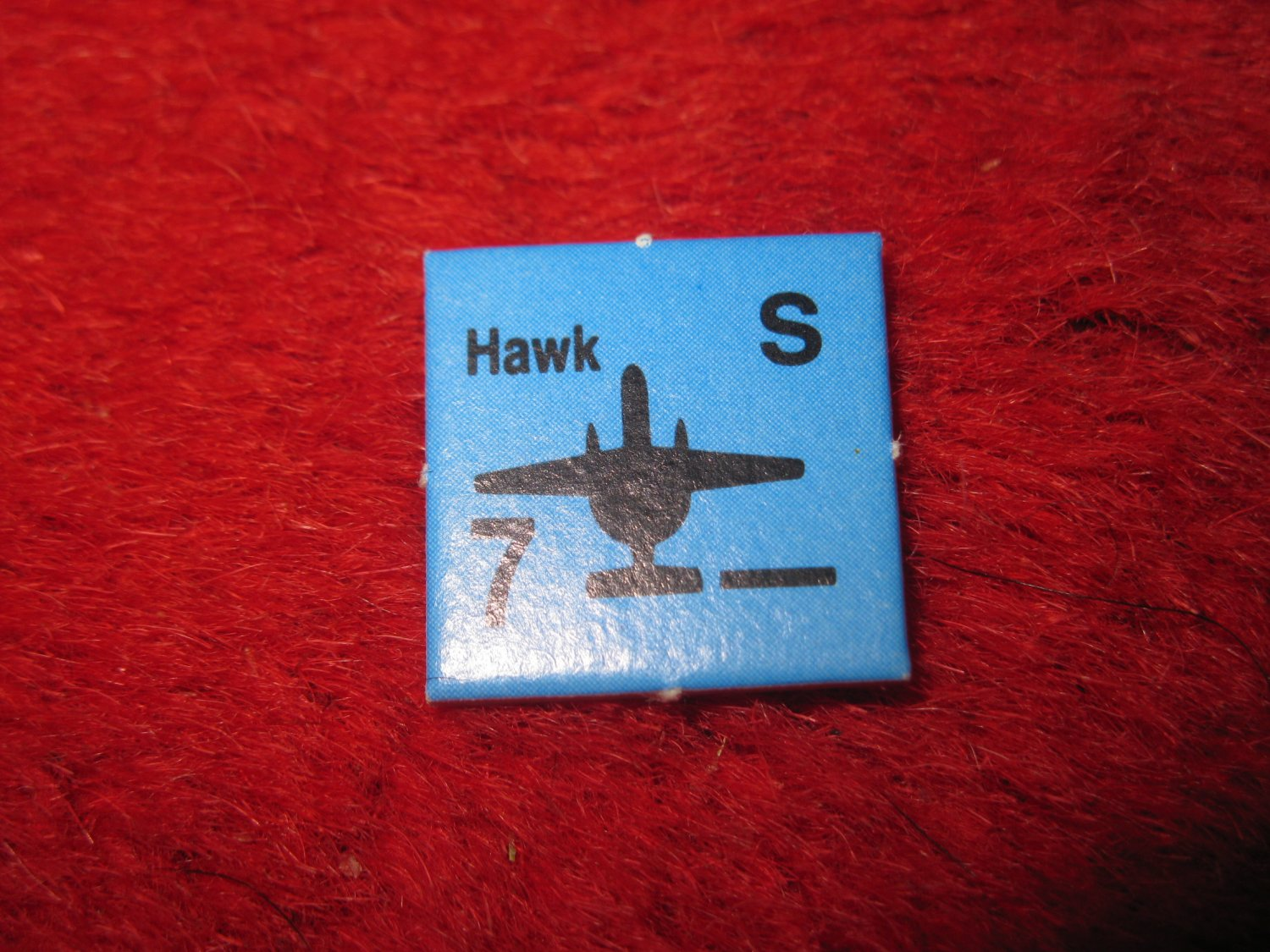 1988 The Hunt for Red October Board Game Piece: HAWK blue Square Counter