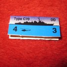 1988 The Hunt for Red October Board Game Piece: Type C-70 Blue Ship Tab- NATO