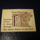 1980 TSR D&D: Dungeon Board Game Piece: Treasure 1st Level Card- Secret Door