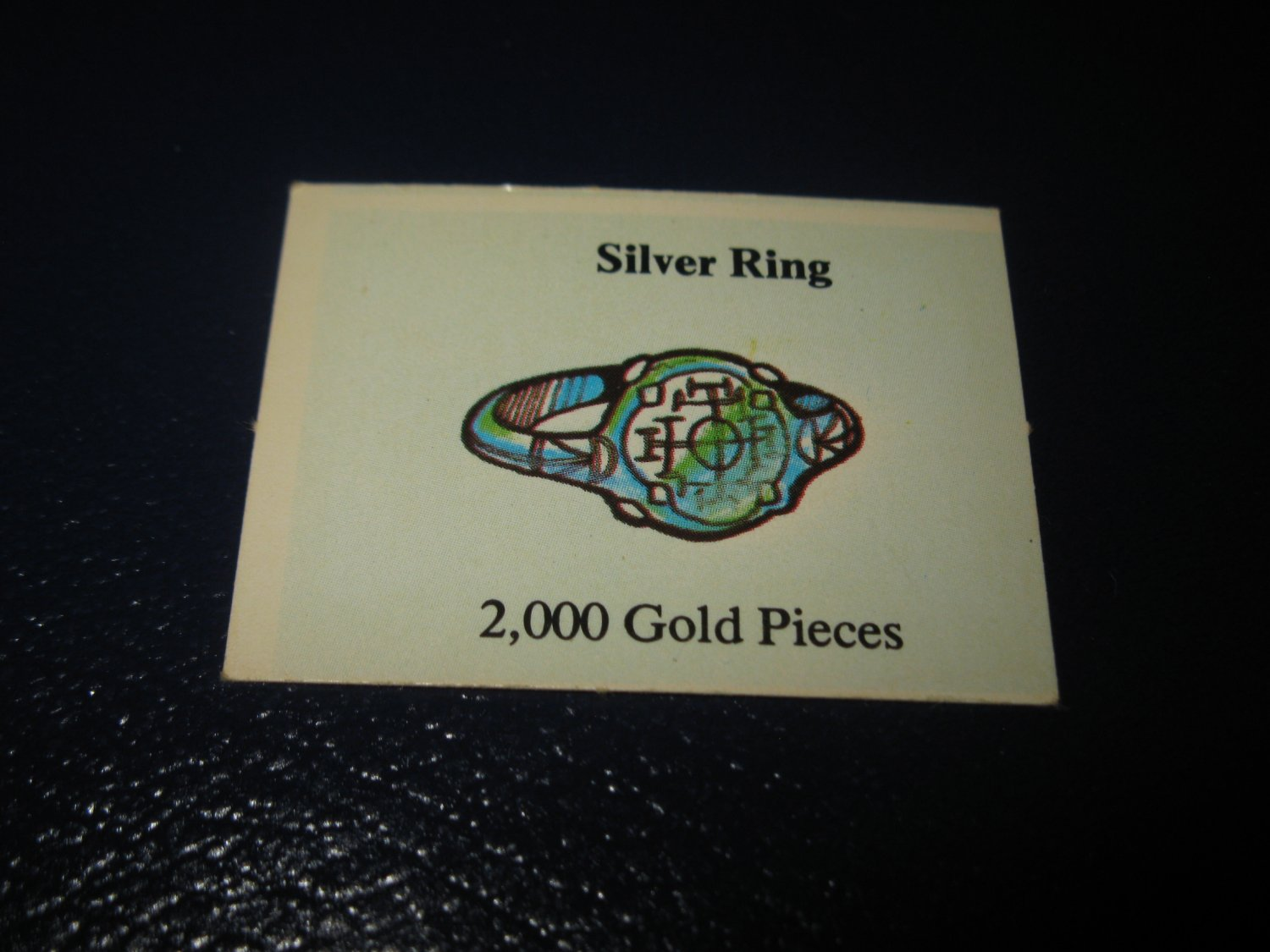 1980 TSR D&D: Dungeon Board Game Piece: Treasure 2nd Level Card- Silver Ring