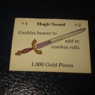 1980 TSR D&D: Dungeon Board Game Piece: Treasure 4th Level Card- Magic Sword