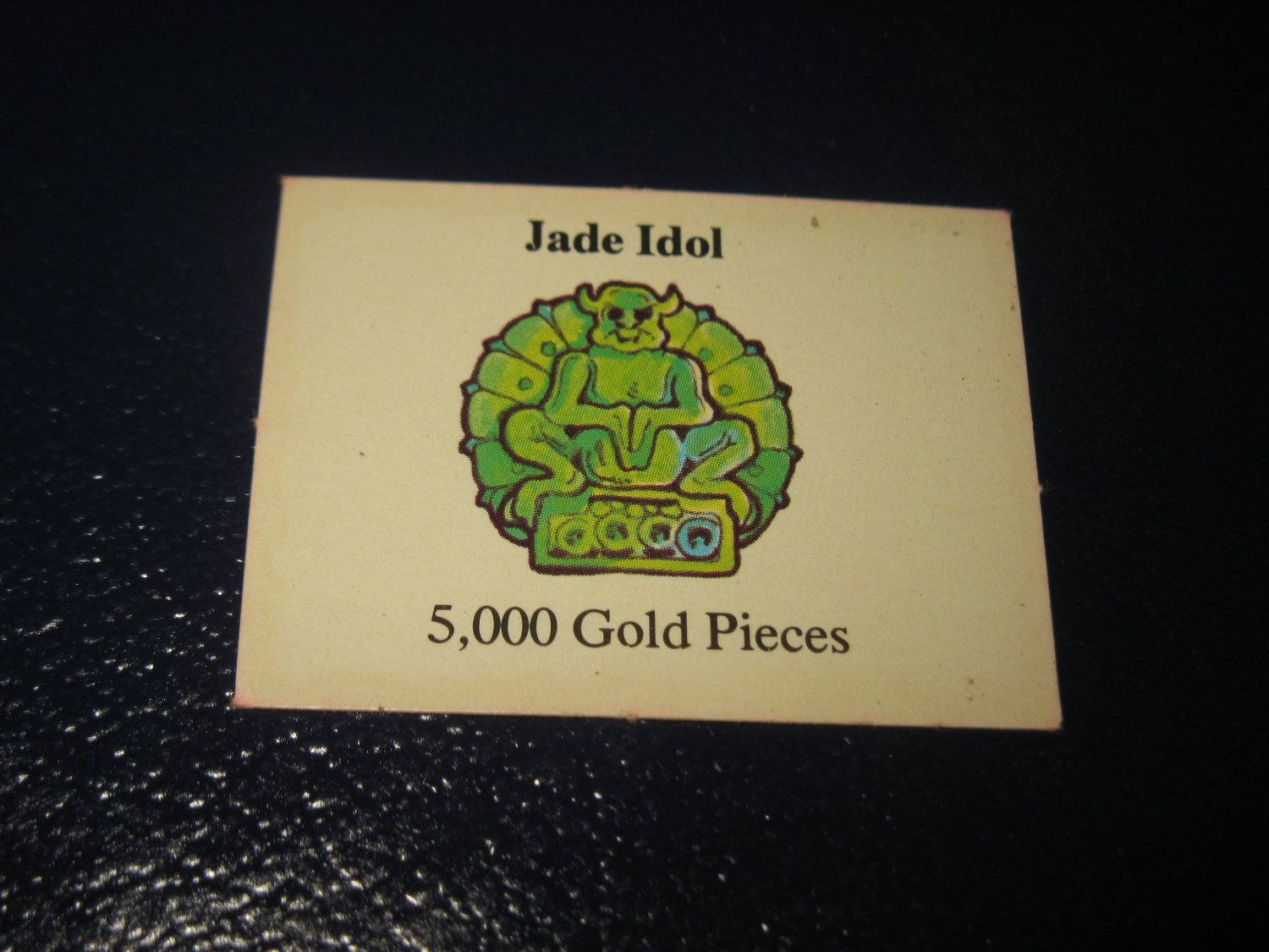 1980 TSR D&D: Dungeon Board Game Piece: Treasure 4th Level Card- Jade Idol