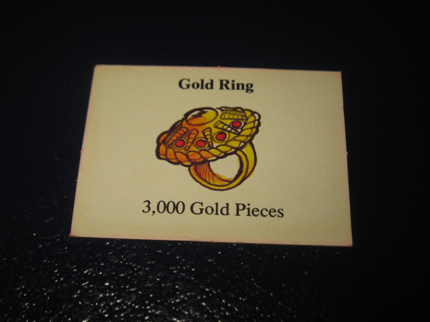 1980 TSR D&D: Dungeon Board Game Piece: Treasure 4th Level Card- Gold Ring