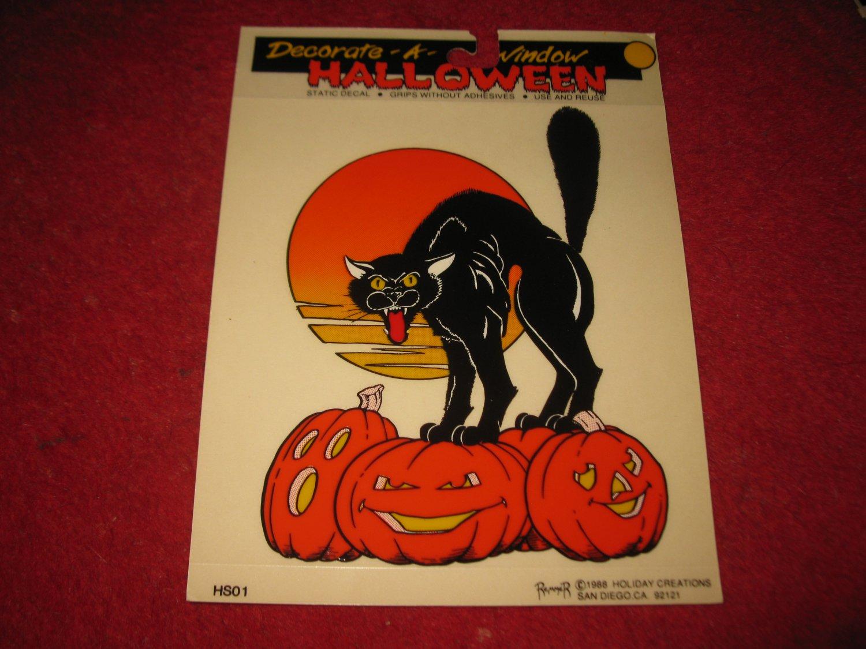 1988 Remmer 'Ghoul Friends' Halloween Window Decoration #HS-01: Black Cat w/ Pumpkins- MISP
