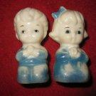 Vintage 1960's set of plastic Children Praying Salt & Pepper Shakers w/ plug bottoms