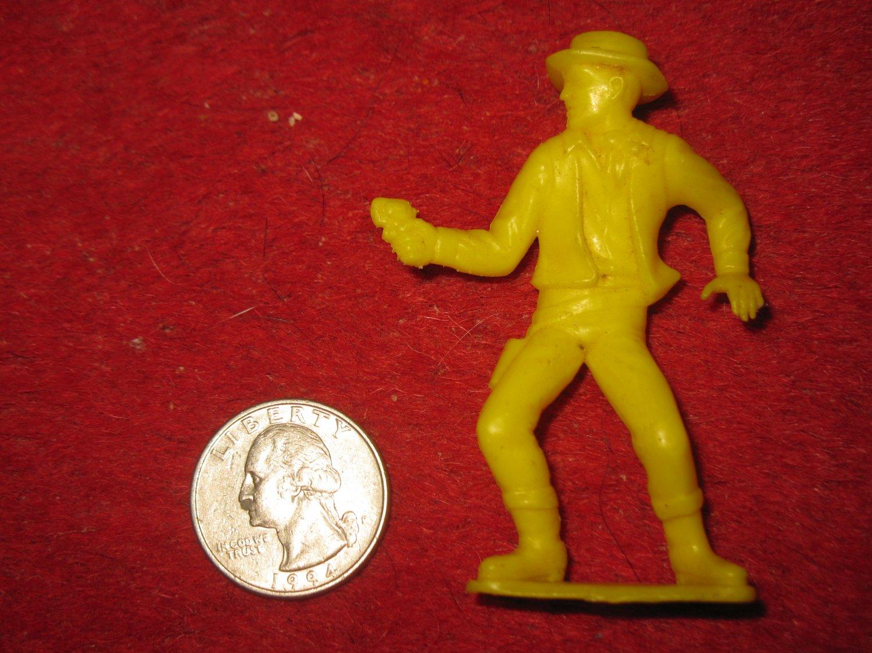 Vintage 1950's Miniature Playset figure: Yellow Sheriff Cowboy w/ Pistol