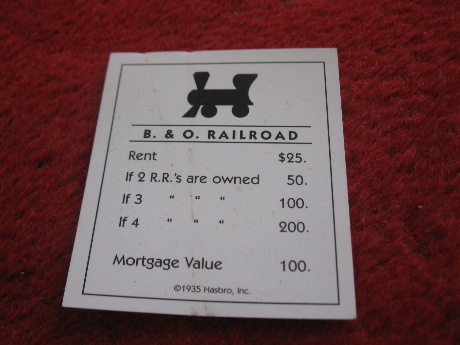 2004 Monopoly Board Game Piece: B. & O. Railroad Title Deed