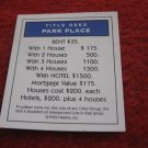 2004 Monopoly Board Game Piece: Park Place Title Deed