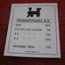 2004 Monopoly Board Game Piece: Pennsylvania Railroad Title Deed
