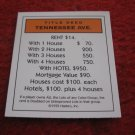 2004 Monopoly Board Game Piece: Tennessee Ave Title Deed