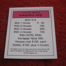 2004 Monopoly Board Game Piece: Virginia Ave Title Deed