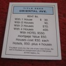 2004 Monopoly Board Game Piece: Oriental Ave Title Deed