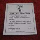 2004 Monopoly Board Game Piece: Electric Company Title Deed