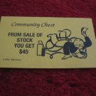 2004 Monopoly Board Game Piece: Sale of Stock Community Chest Card