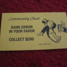 2004 Monopoly Board Game Piece: Bank Error Community Chest Card