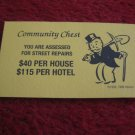 2004 Monopoly Board Game Piece: Street Repairs Community Chest Card