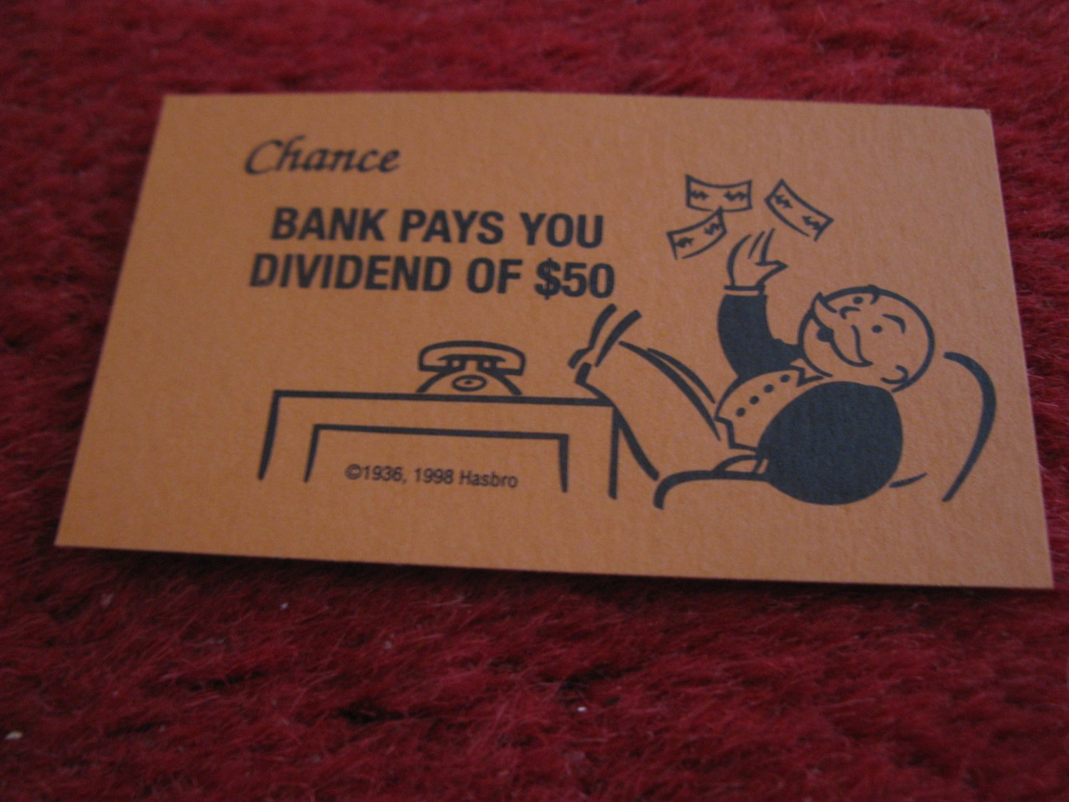 2004 Monopoly Board Game Piece: Bank Pays Dividend Chance Card