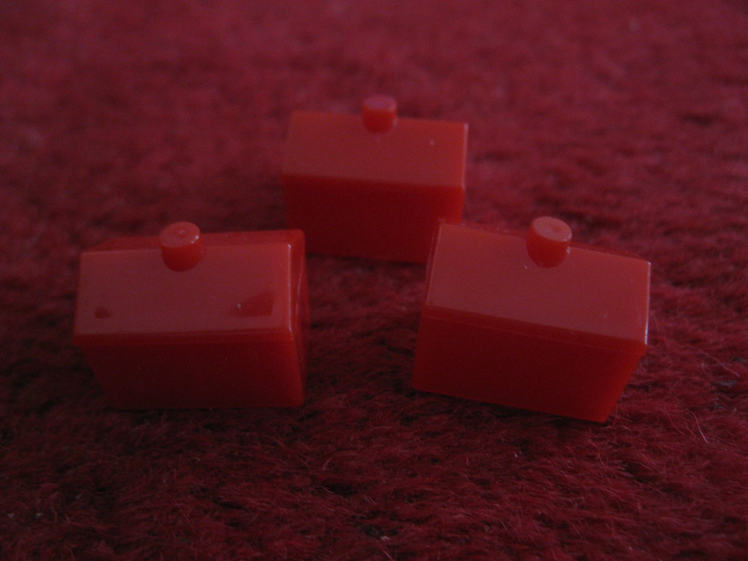 2004 Monopoly Board Game Piece: set of 3 red Hotels