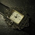 Avon Watch - nice jeweled art deco style - black band
