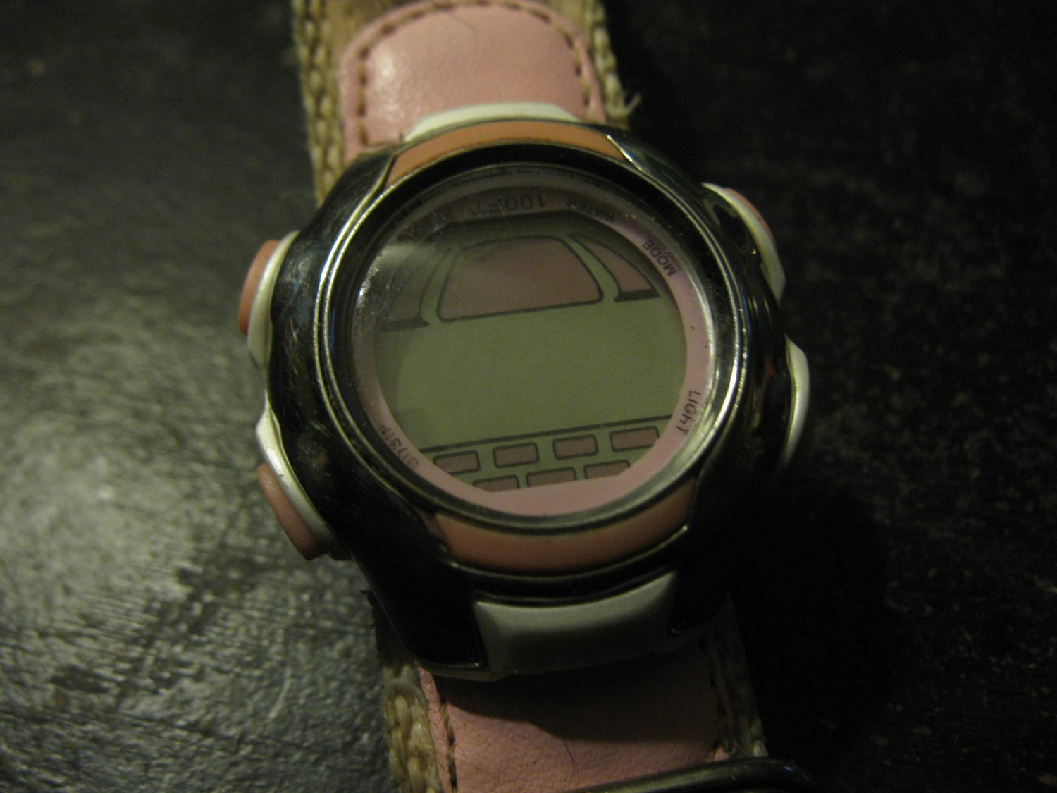 Ladies Pink Sports Watch: Velcro cloth band, Water Resistant 100feet. stop watch feature + more