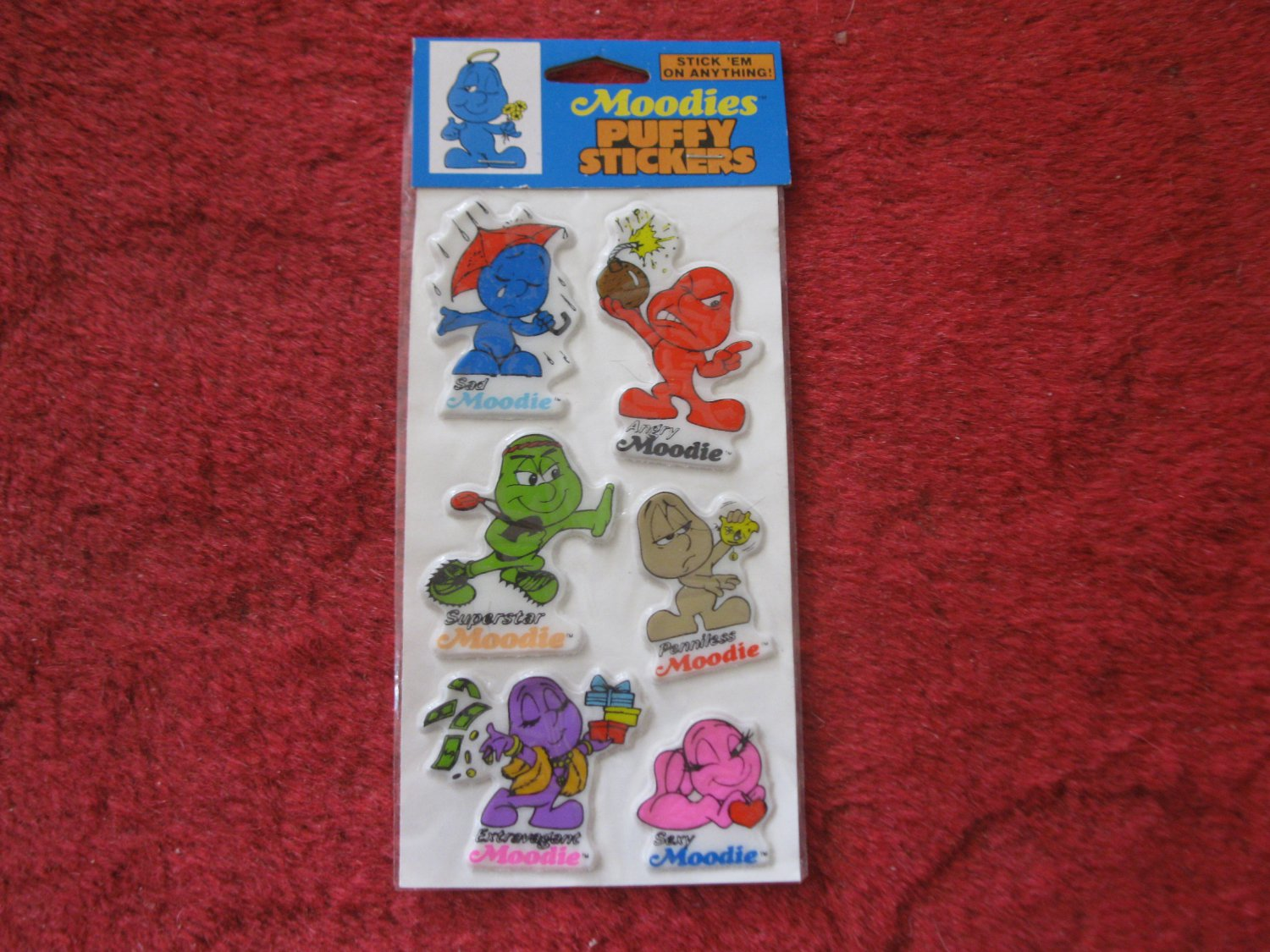 1983 Kent Toys Moodies Puffy Stickers (blue top card)- Factory Sealed, Never Opened