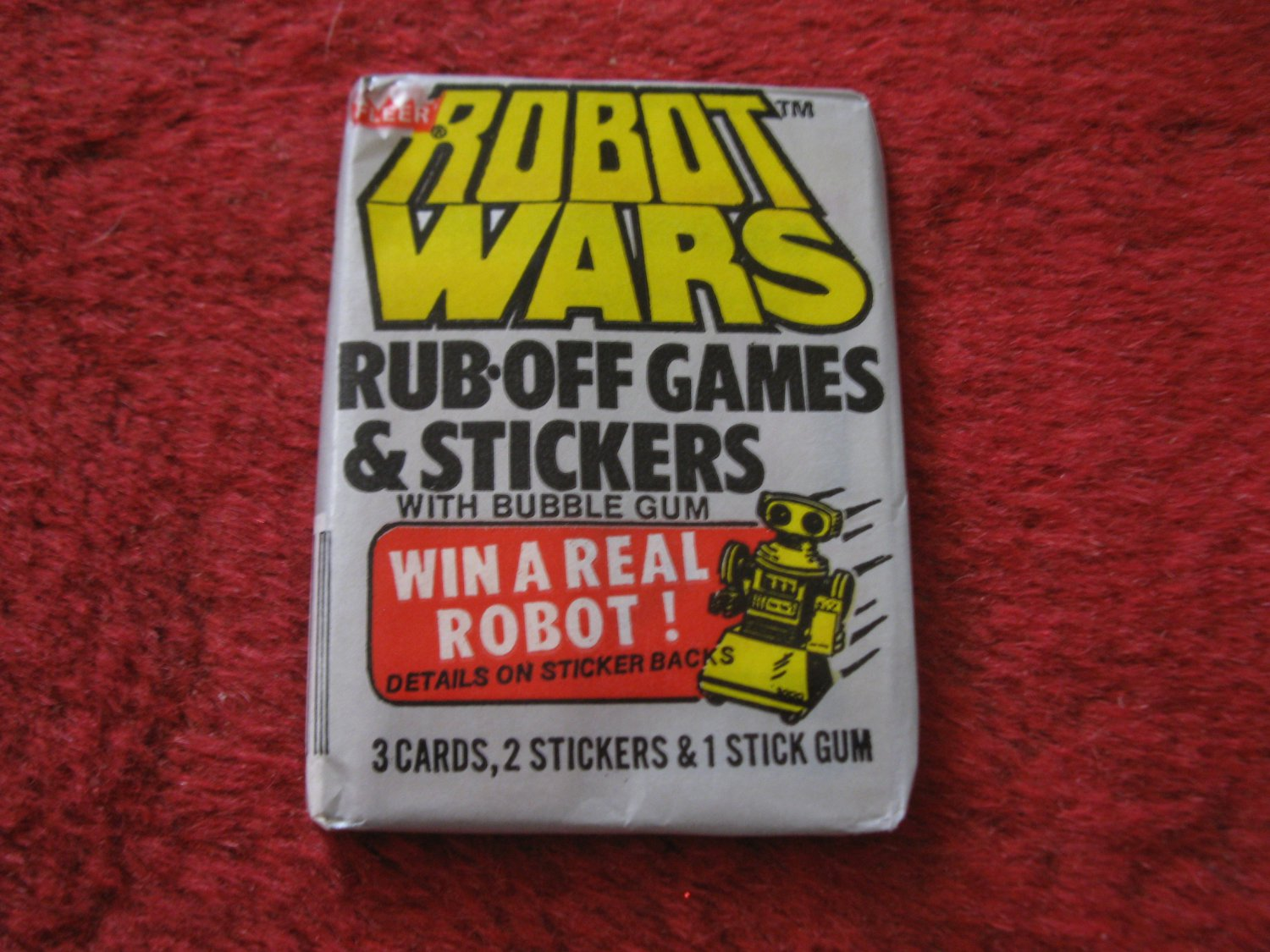 1985 Fleer Robot Wars Wax Pack of Stickers & Rub-Off game cards- Factory Sealed, Never Opened