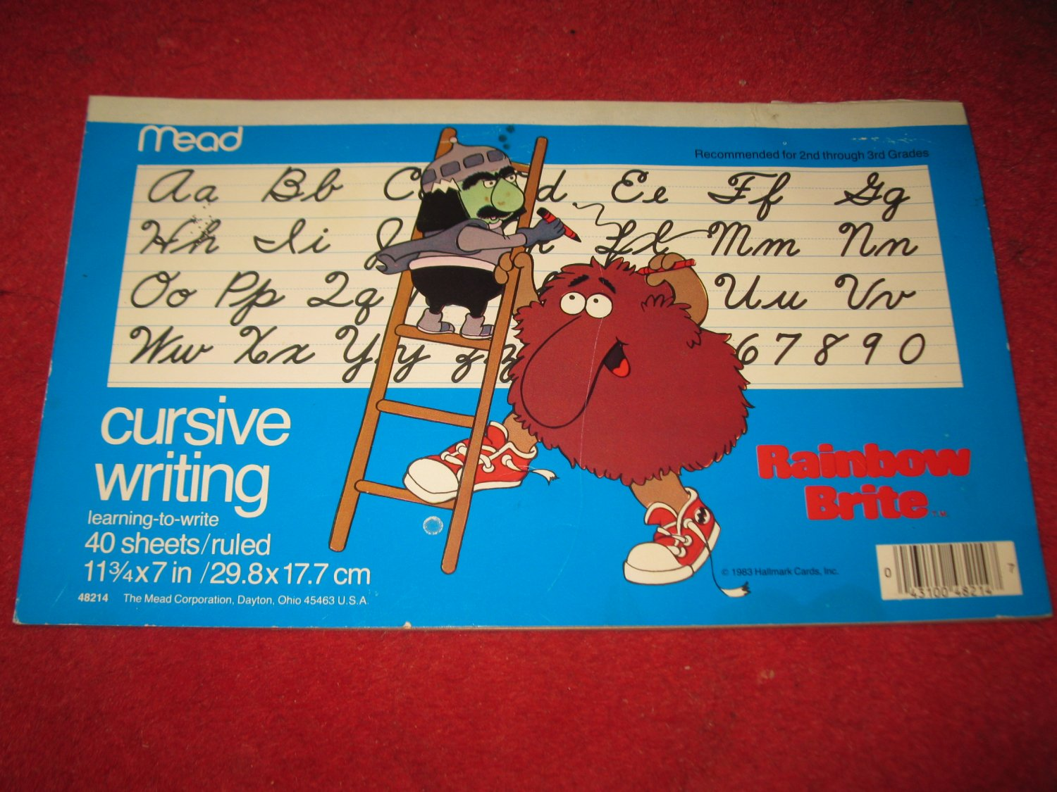 """1983 Rainbow Brite ' Learn to Write Cursive"""" learning tablet - partially used"""