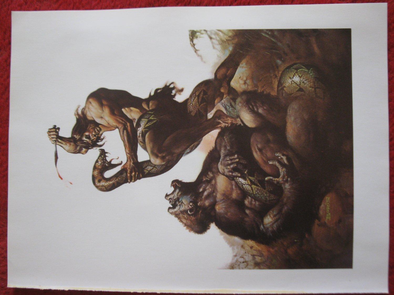 "vintage Boris Vallejo: Tarzan, Lord of the Jungle - 11.5"" x 8.5"" Book Plate Print"