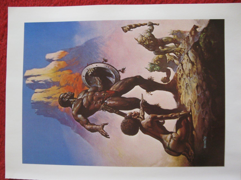 "vintage Boris Vallejo: Nubian Warriors - 11.5"" x 8.5"" Book Plate Print"