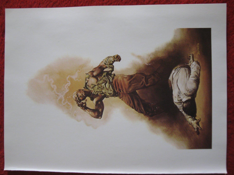 "vintage Boris Vallejo: The Boss of Terror, Doc Savage - 11.5"" x 8.5"" Book Plate Print"