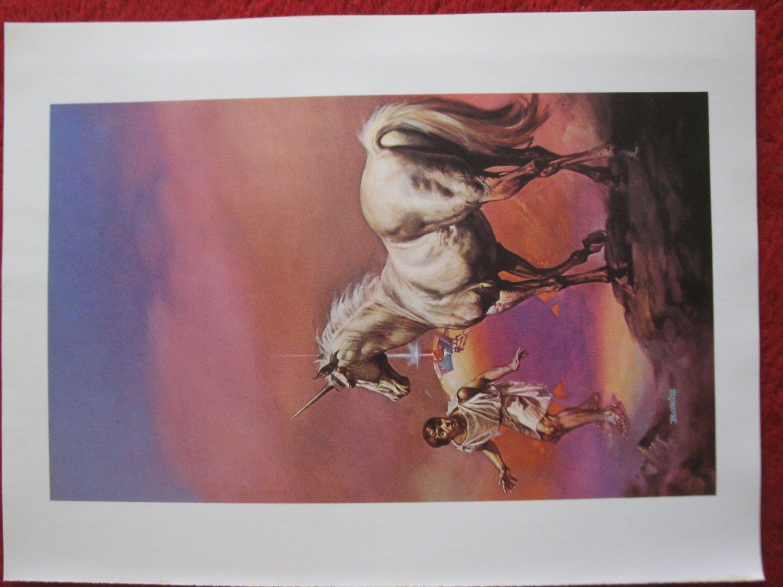 "vintage Boris Vallejo: The Flight of the Horse - 11.5"" x 8.5"" Book Plate Print"