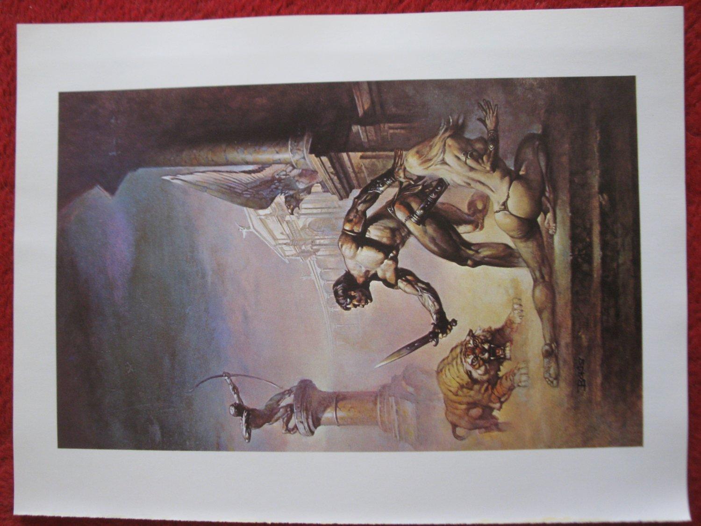"vintage Boris Vallejo: I am a Barbarian - 11.5"" x 8.5"" Book Plate Print"