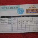 1987 Hotels Board Game Piece: Boomerang Hotel Title Deed