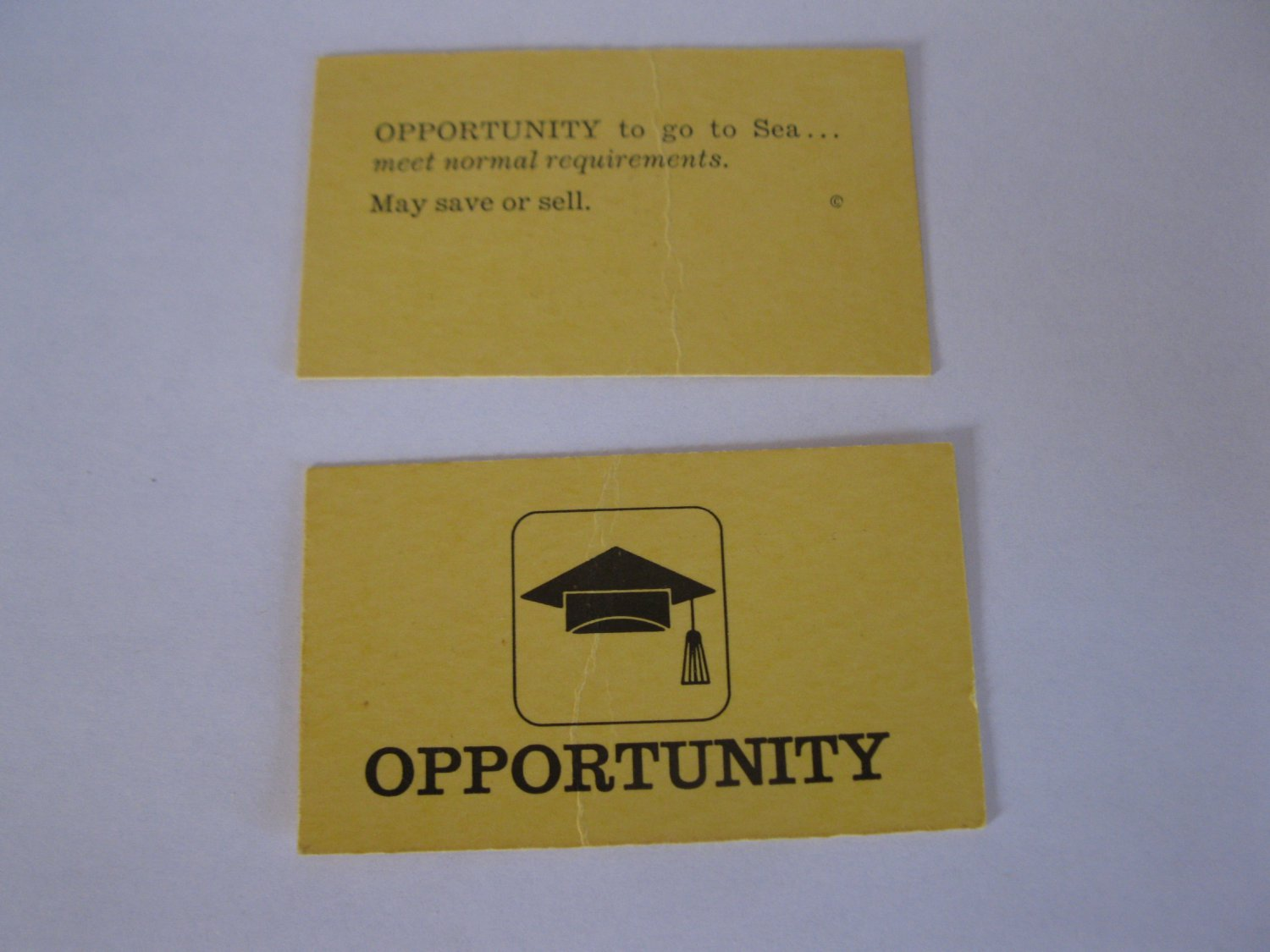 1965 Careers Board Game Piece: Yellow Opportunity Card - Sea