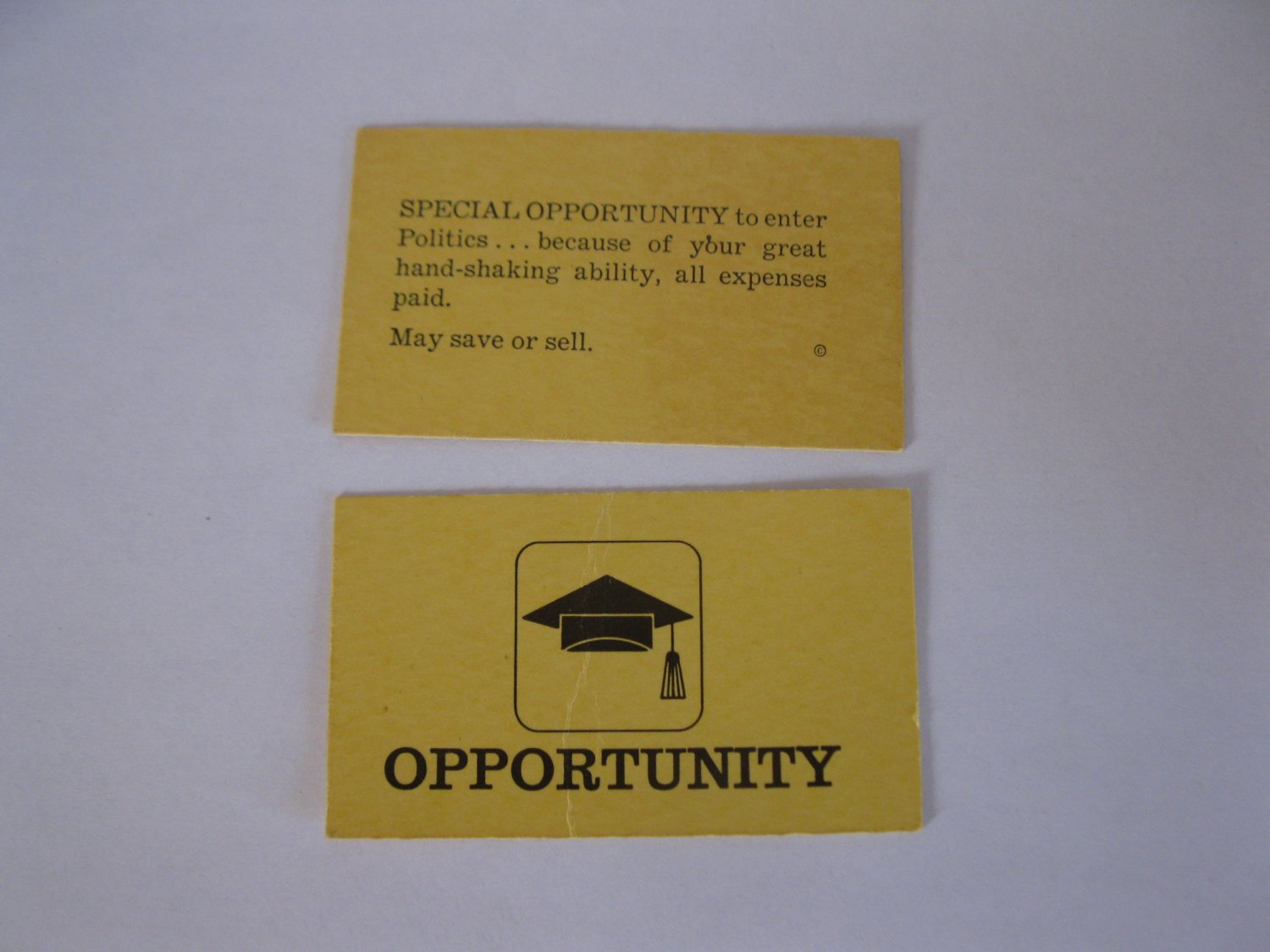 1965 Careers Board Game Piece: Yellow Special Opportunity Card - Politics