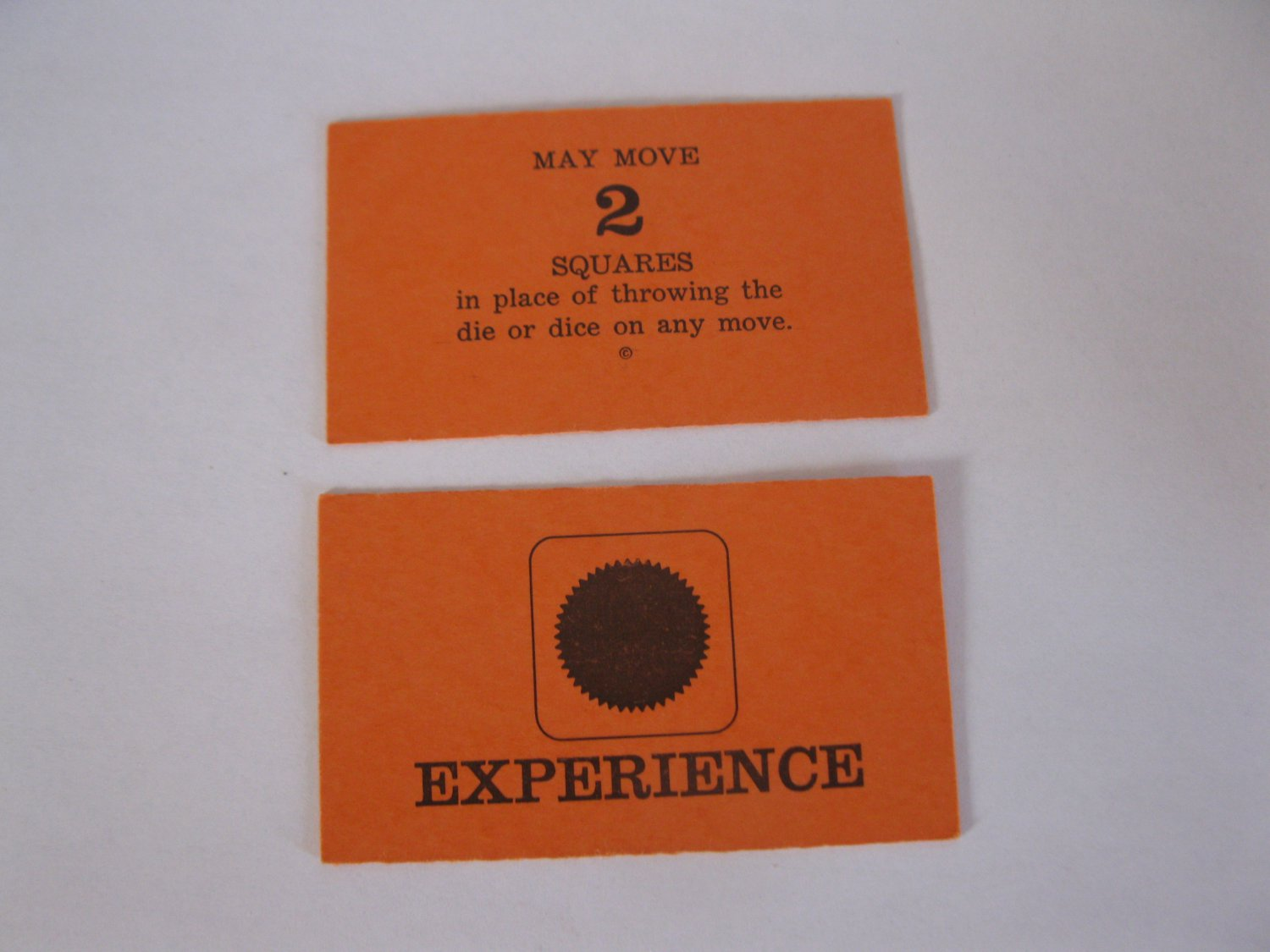 1965 Careers Board Game Piece: Red Experience Card: Move 2 Squares