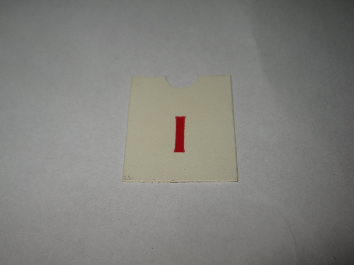 1967 4CYTE Board Game Piece: Red Letter Tab - I
