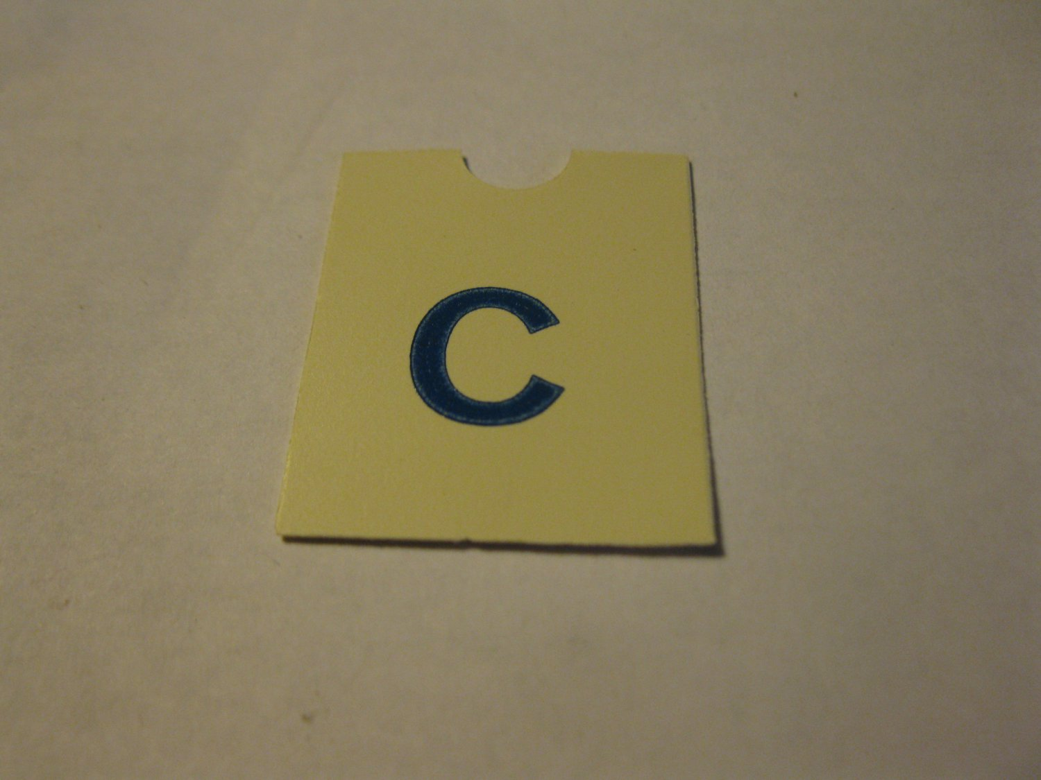 1967 4CYTE Board Game Piece: Blue Letter Tab - C