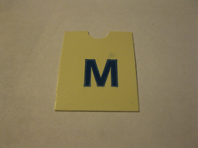 1967 4CYTE Board Game Piece: Blue Letter Tab - M