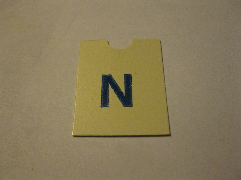 1967 4CYTE Board Game Piece: Blue Letter Tab - N