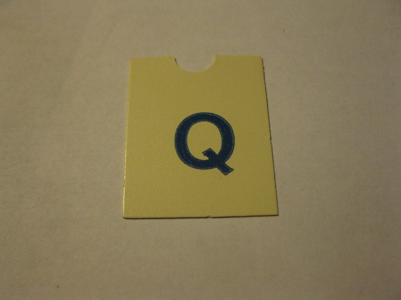 1967 4CYTE Board Game Piece: Blue Letter Tab - Q