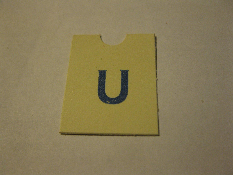 1967 4CYTE Board Game Piece: Blue Letter Tab - U