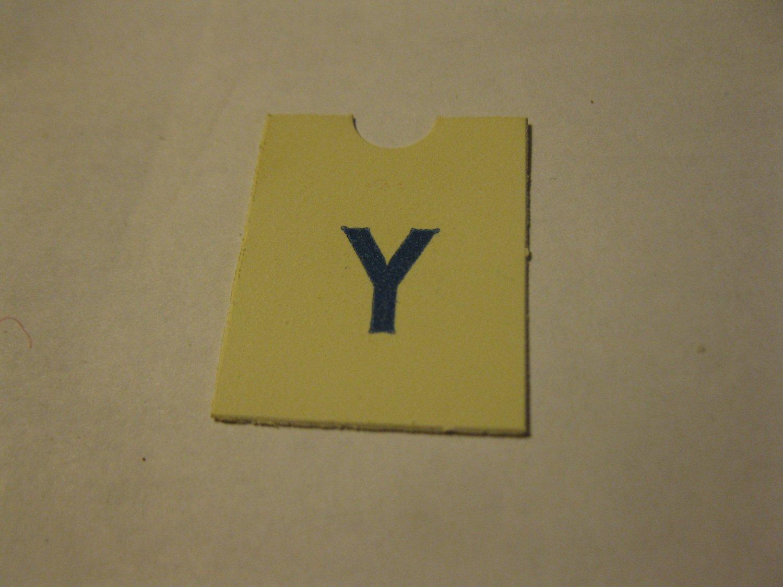 1967 4CYTE Board Game Piece: Blue Letter Tab - Y