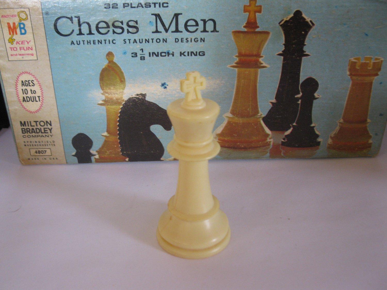 1969 Chess Men Board Game Piece: Authentic Stauton Design - White King
