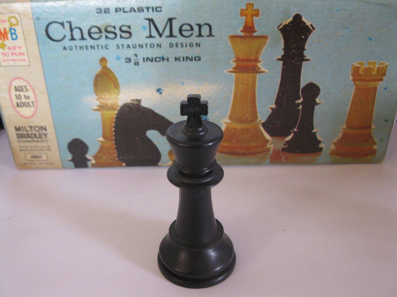 1969 Chess Men Board Game Piece: Authentic Stauton Design - Black King