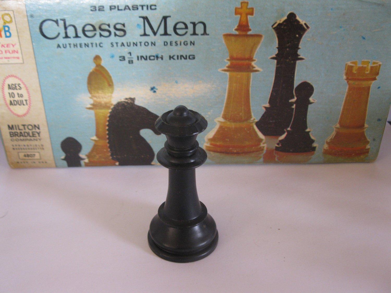 1969 Chess Men Board Game Piece: Authentic Stauton Design - Black Queen