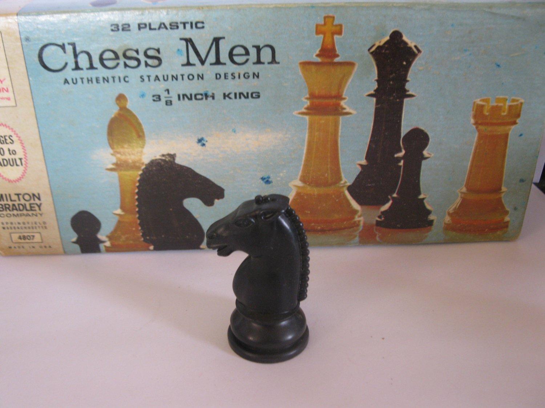 1969 Chess Men Board Game Piece: Authentic Stauton Design - Black Knight
