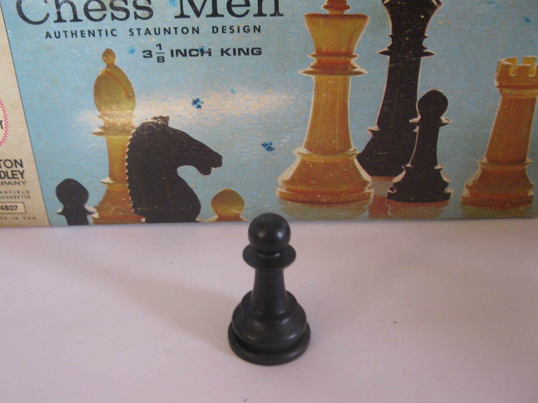 1969 Chess Men Board Game Piece: Authentic Stauton Design - Black Pawn
