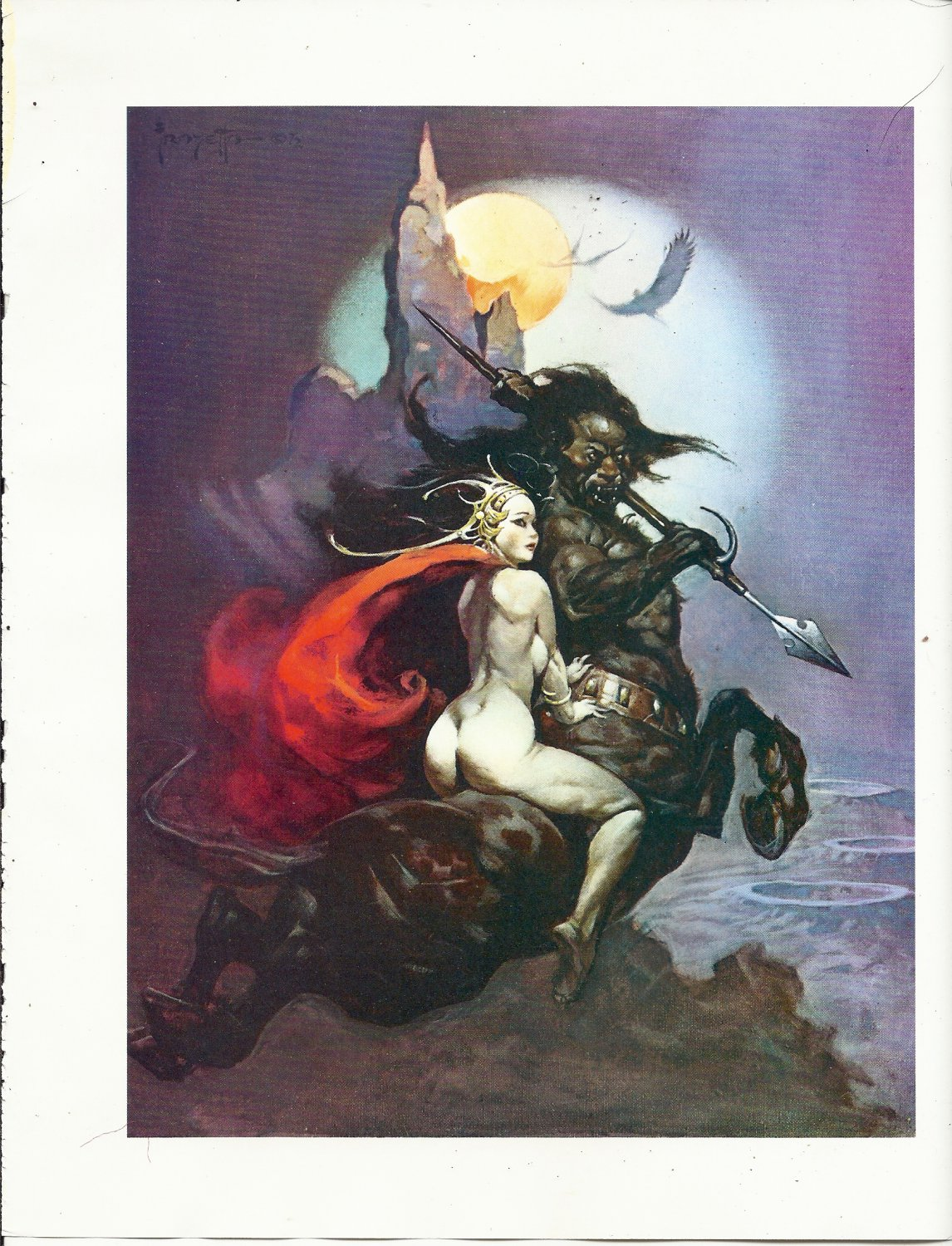 "vintage Frank Frazetta 11"" x 9"" Book Plate Print - The Moonmaid"
